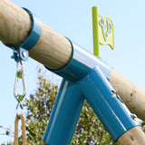 TP Knightswood Triple Wooden Swing & Slide Set With Glider & Button Seat-FSC<sup>®</sup>
