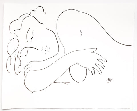 "Original Line Drawing ""I Dream of You"" 20"" x 16.5"" Ltd Ed. by Marilyn Wells"