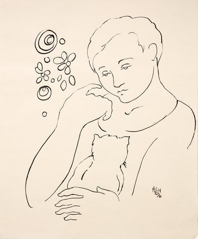"Original Line Drawing ""My Forever Friend"" 20"" x 16.5"" Ltd Ed. by Marilyn Wells"