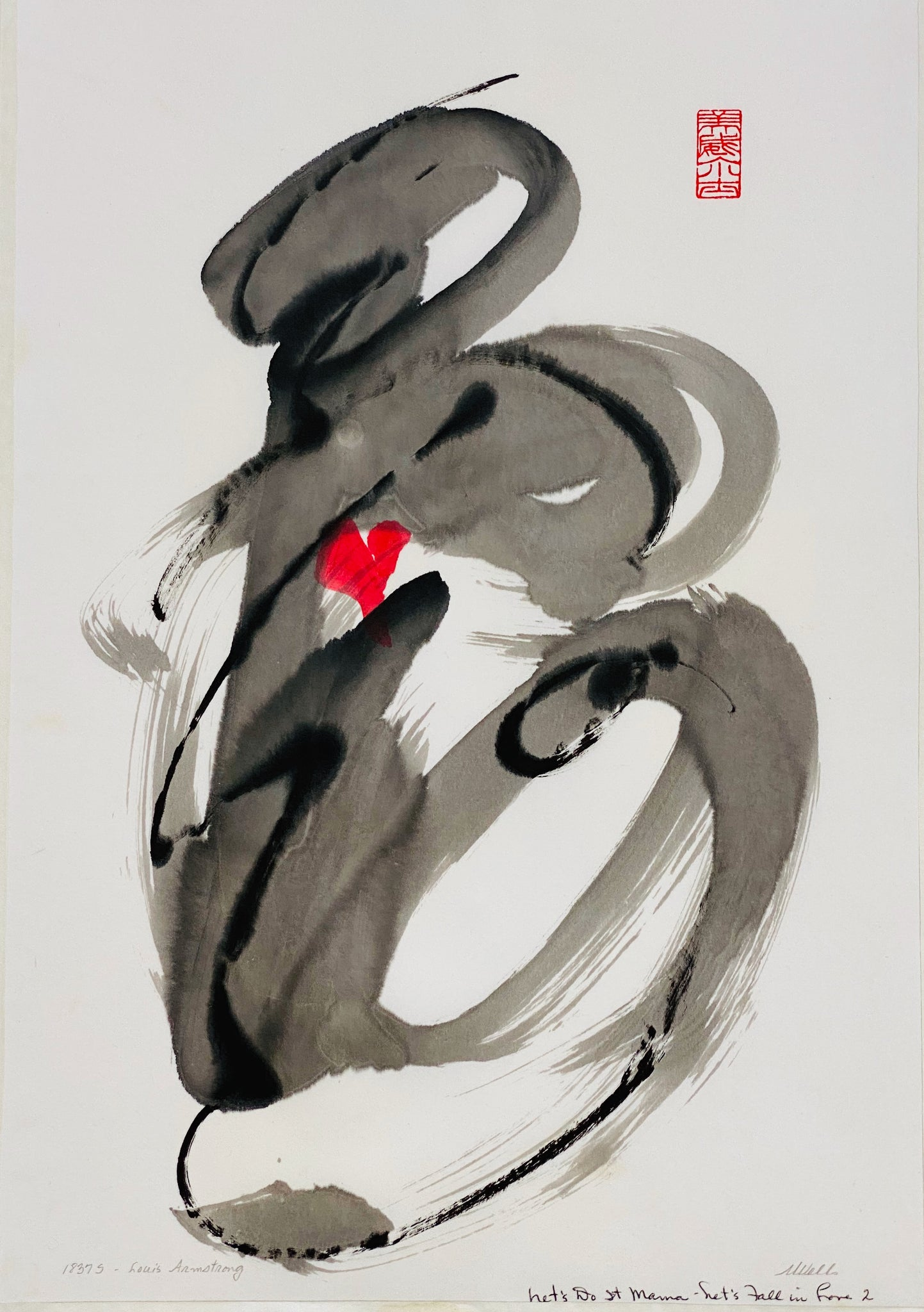 "Original ""Let's Fall in Love"" abstract sumi e by Marilyn Wells"