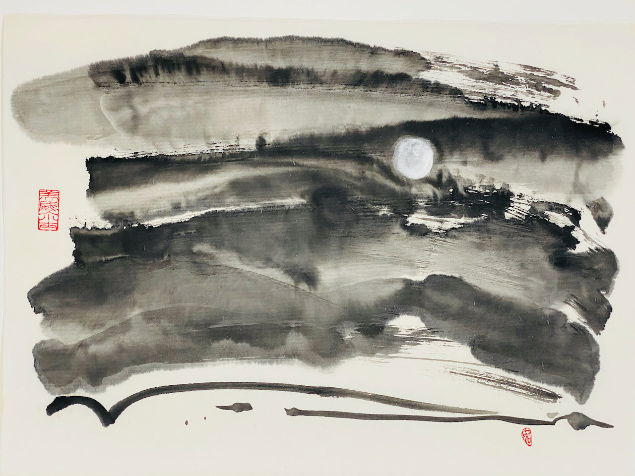 "Print abstract sumi e ""A Pallid Ember"" by Marilyn Wells"
