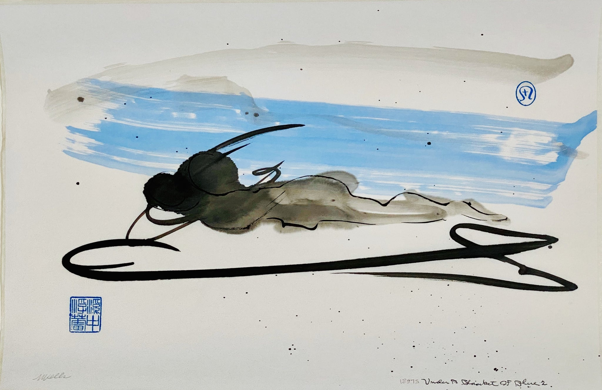 "Print ""Under A Blanket of Blue"" abstract sumi e by Marilyn Wells"
