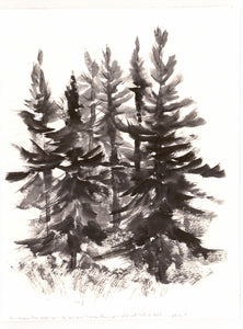 "Print ""Among the Trees"" Print, abstract sumi e by Marilyn Wells"