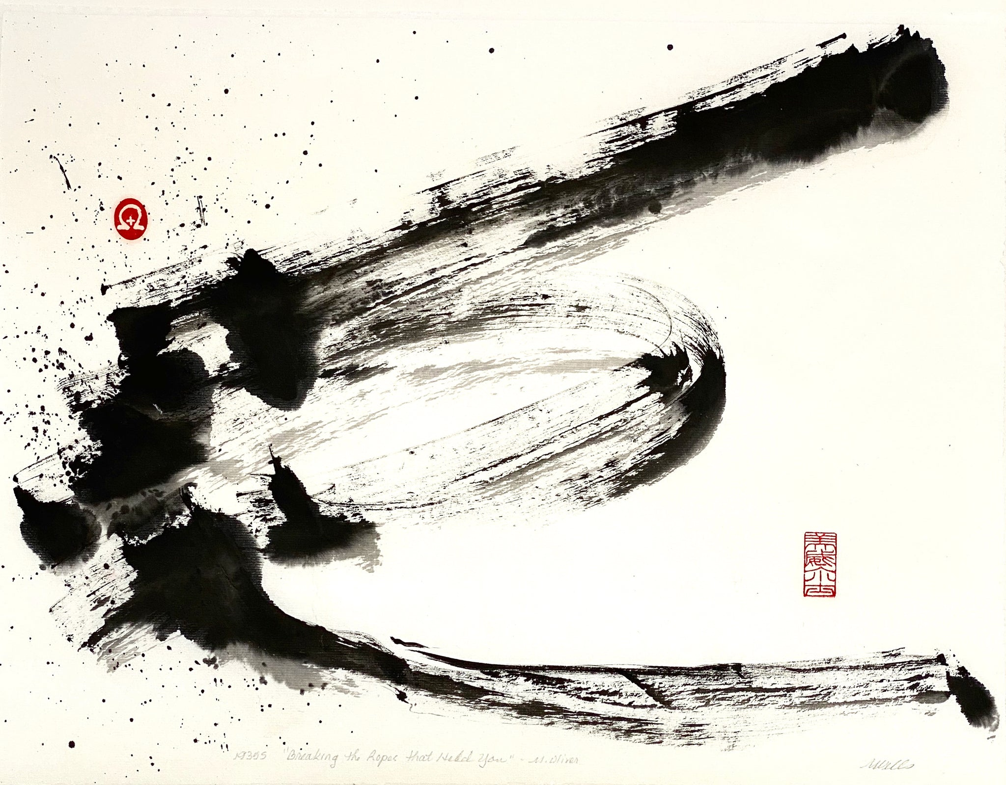 "Print ""What is Holding You?"" abstract sumi e by Marilyn Wells"