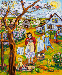 "Original Oil Painting ""Hanging Clothes in Springtime - I Remember Ellis Island"" 20"" x 24"" by Marilyn Wells"