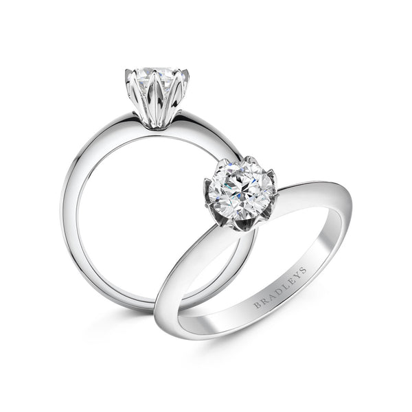 two angles of unusual diamond engagement ring
