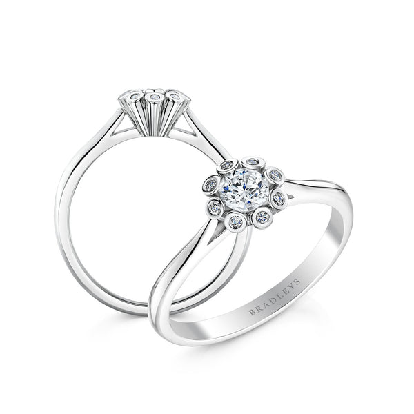 diamond silver colour flower cluster engagement ring