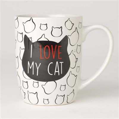 I Love My Cat Stoneware Mug, White