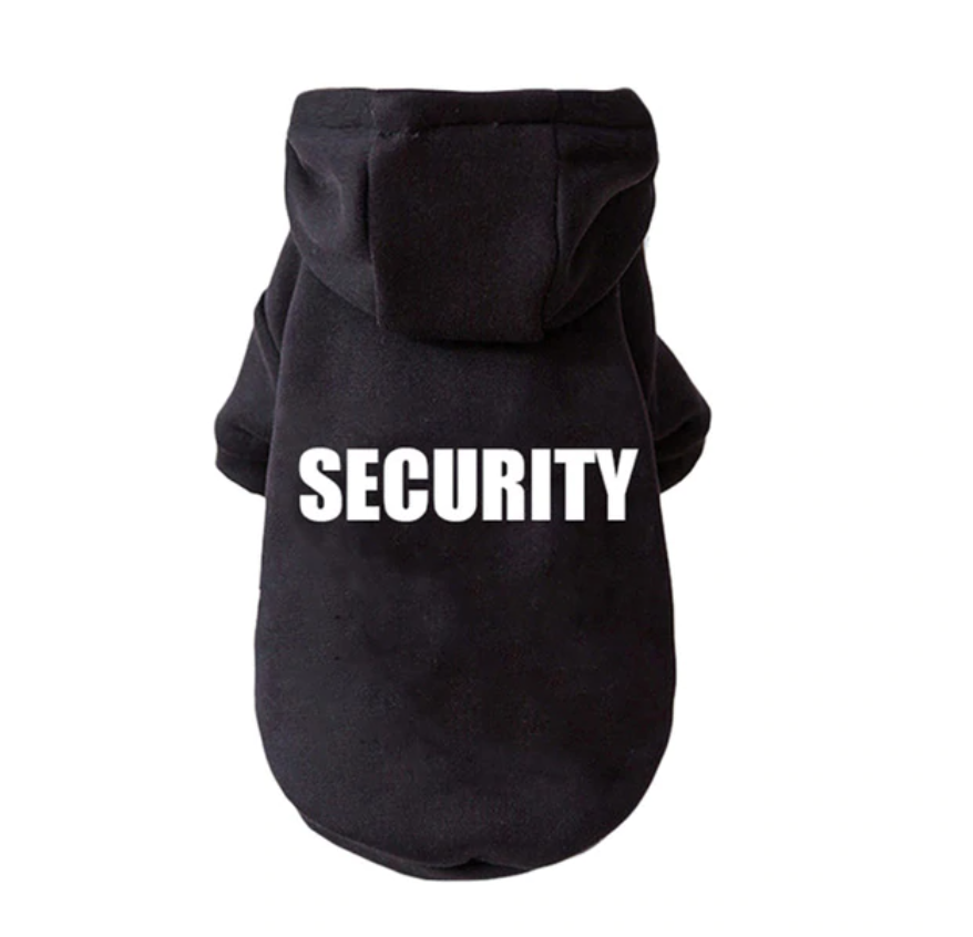 "Cute Dog Hoodie Small Dogs (XS) ""Security"""