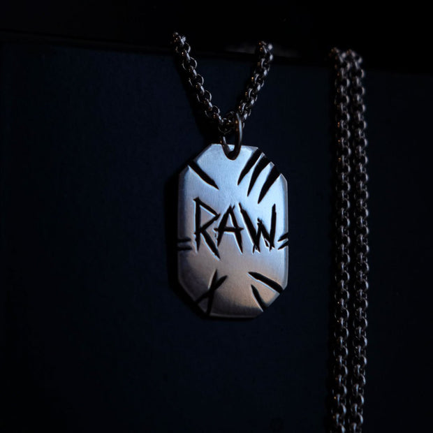 "Chain with dog tag - ""RAW"" - Purman Sustainable Jewelry"