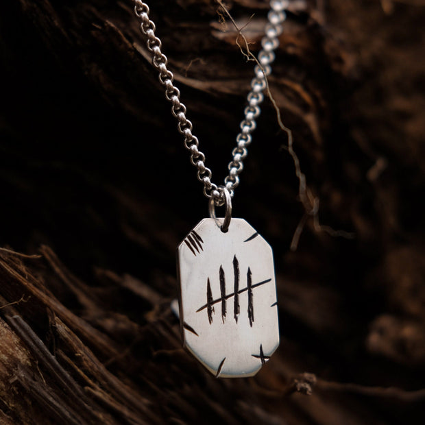 "Chain with dog tag - ""Tally Mark"" - Purman Sustainable Jewelry"