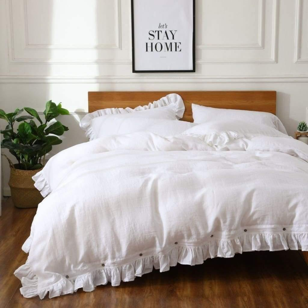 Belgian Linen 6 Piece Ruffled Duvet Cover Sheet Set & Bedskirt In 12 Colors | flaxlinens.com
