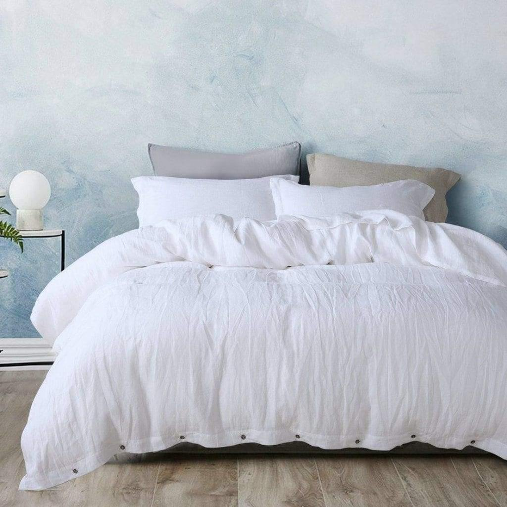 Belgian Linen Bed In A Bag 5 Piece Simple Duvet Cover & Sheet Set 12 Colors | flaxlinens.com