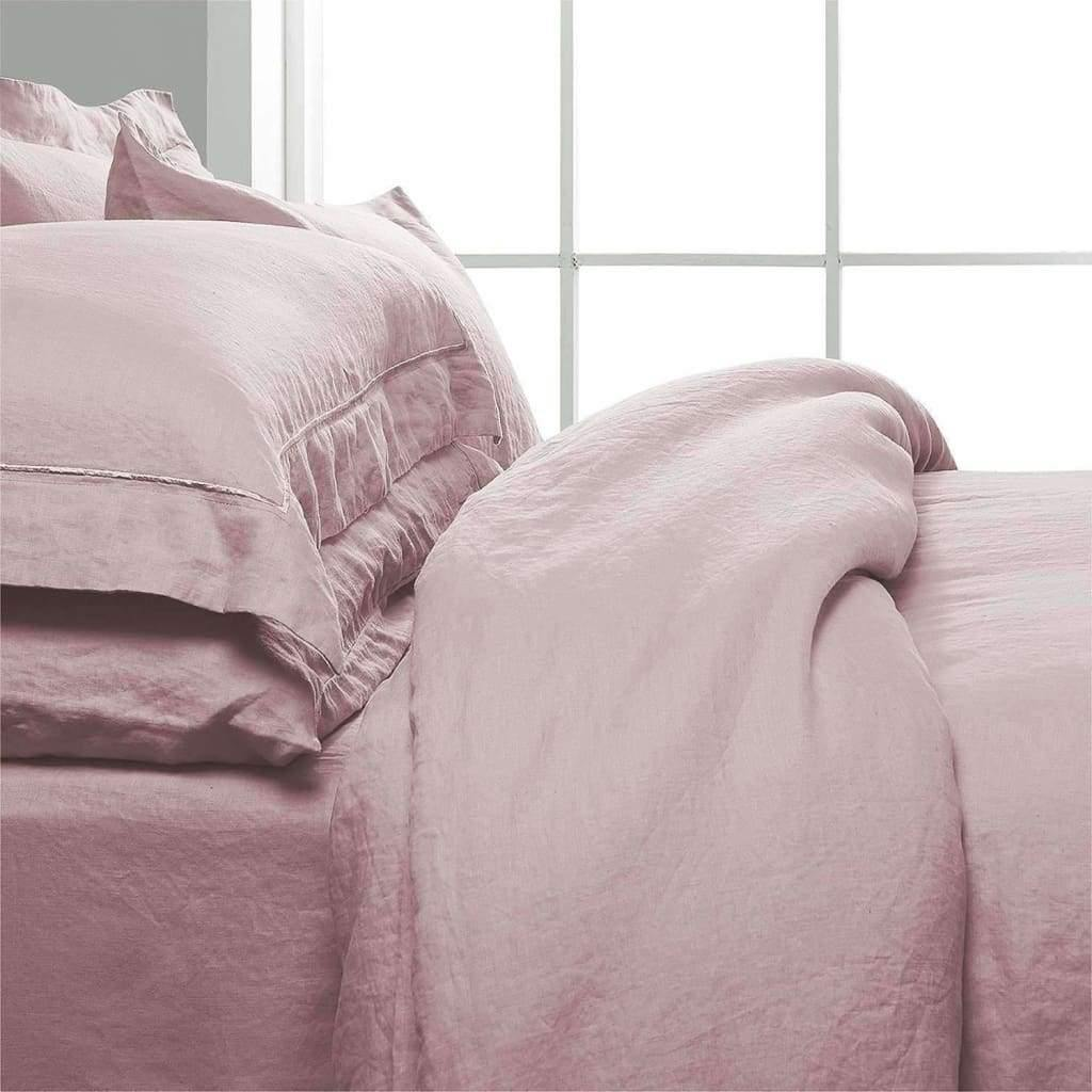 Belgian Linen Embroidered Duvet Cover 3 Piece Set In 7 Colors | flaxlinens.com