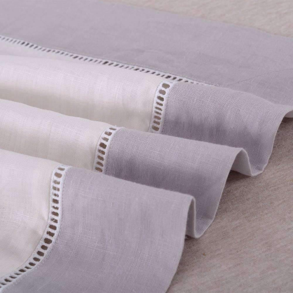 Belgian Linen Hemstitched Duvet Cover 3 Piece Set White W/ Gray Border - King