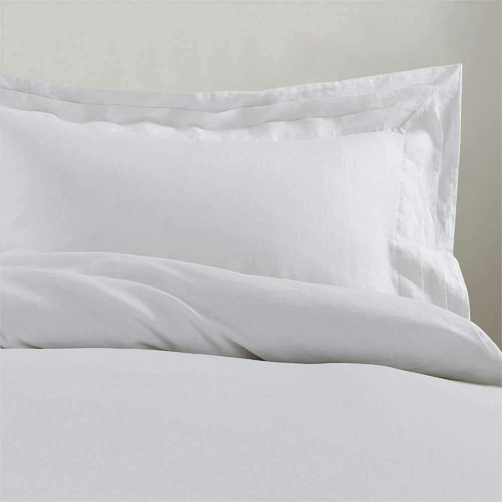 Belgian Linen Multilayered Border Duvet Cover 3 Piece Set In 12 Colors - Snowy White / Twin