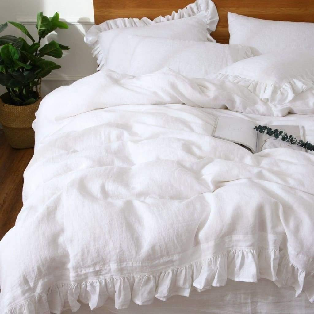 Belgian Linen Ruffled Duvet Cover 3 Piece Set In 12 Colors | flaxlinens.com