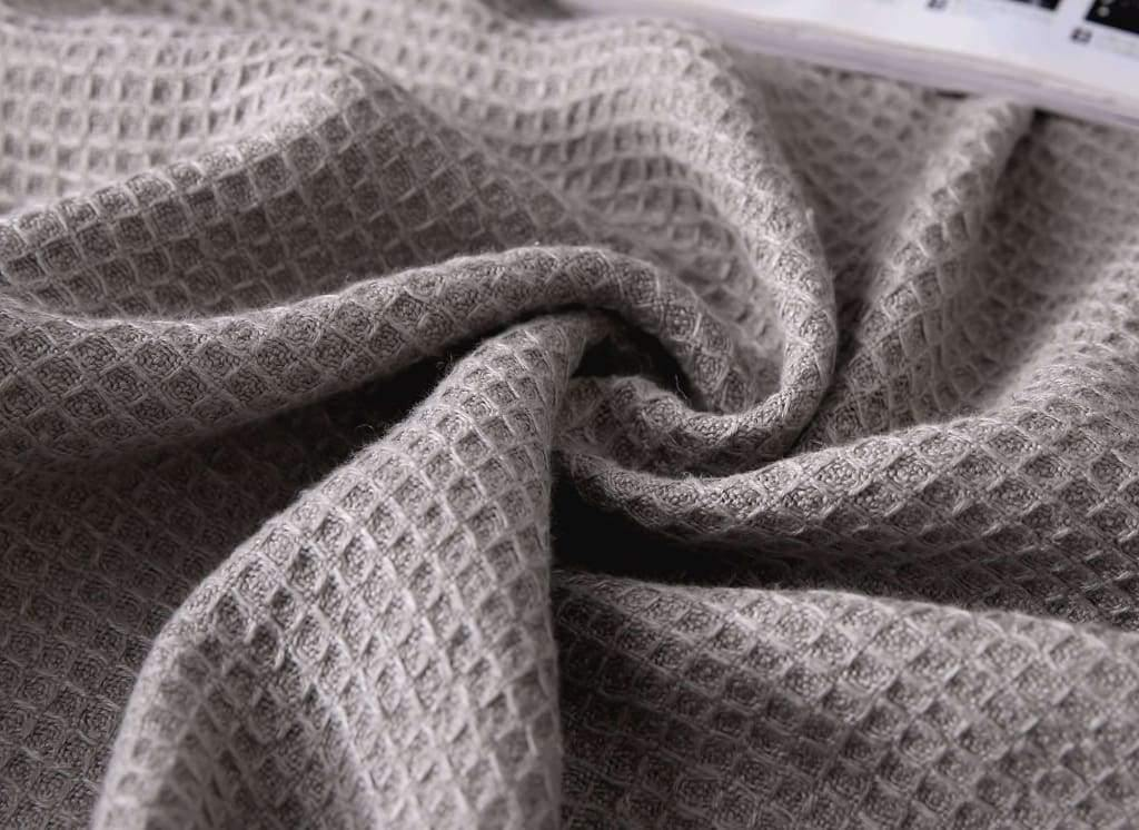 French Linen Honeycomb Light Throw Blanket In Grey Or Ivory Colors King & Queen - Small / Flax | flaxlinens.com