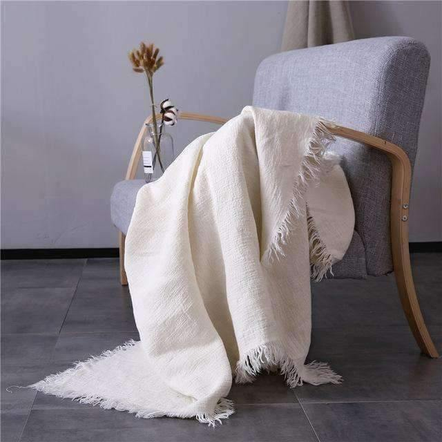 French Linen Threaded & Fringed Throw Blanket Ivory Flax Available In 2 Colors
