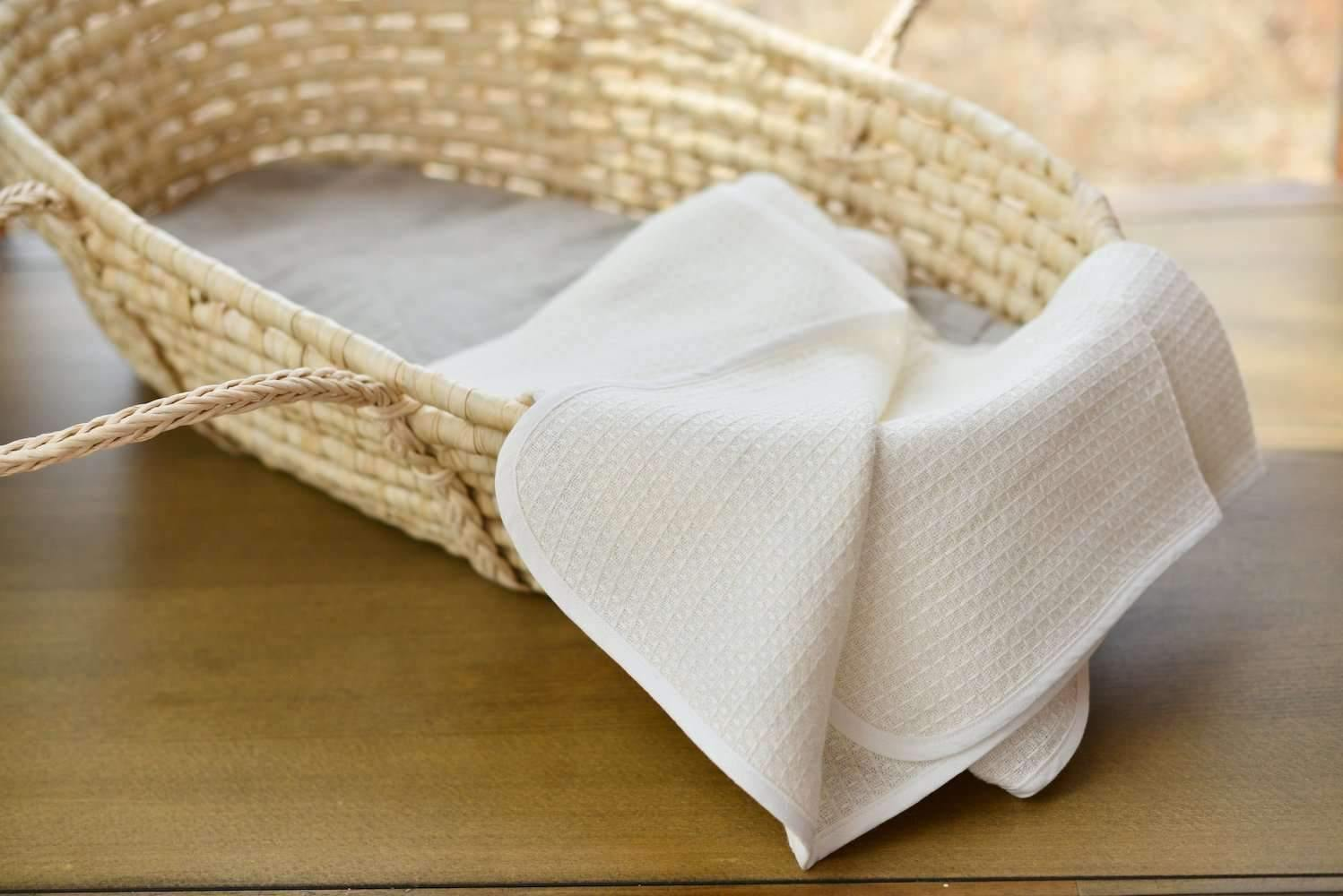 Organic Linen Honeycomb Baby Blankets In Two Colors - Ivory