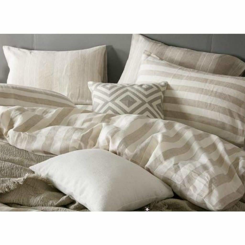 Striped Chambray Linen Bed In A Bag 5 Piece Simple Duvet Cover & Sheet Set 15 Patterns - Twin / Mixed Flax
