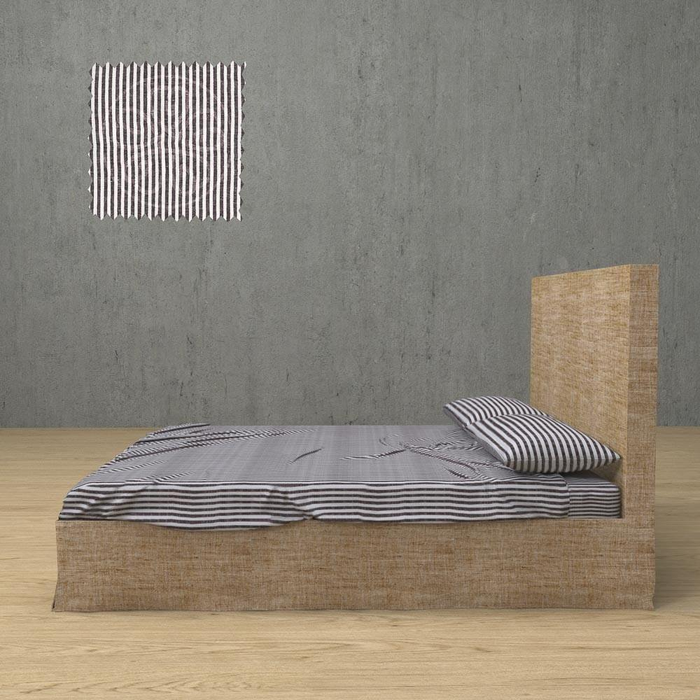 Striped Chambray Linen Sheets 4 Pieces Set In 14 Color Patterns | flaxlinens.com