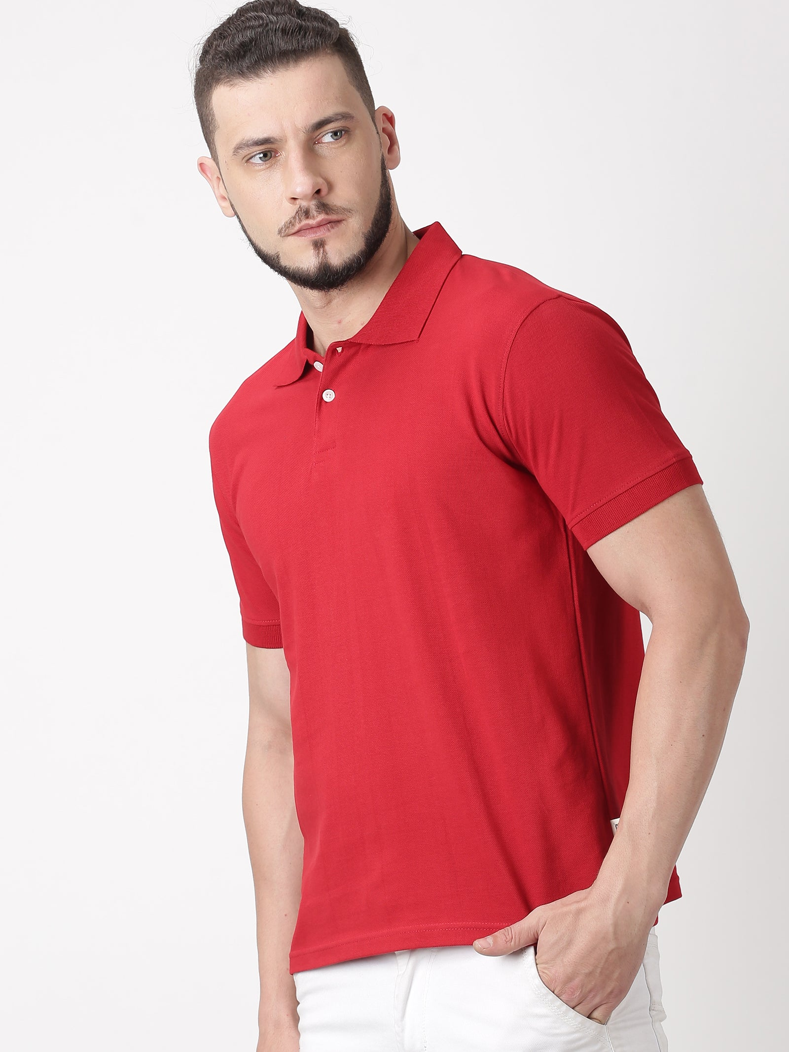 Organic cotton polo t-shirt - Red