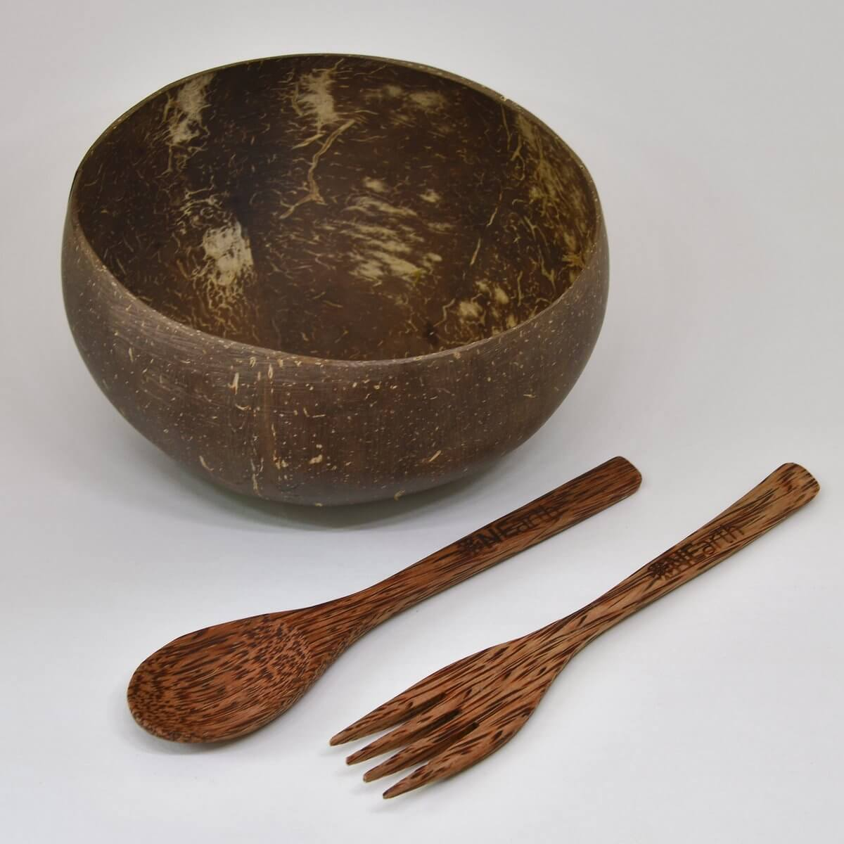 Coconut Bowl with Cutlery