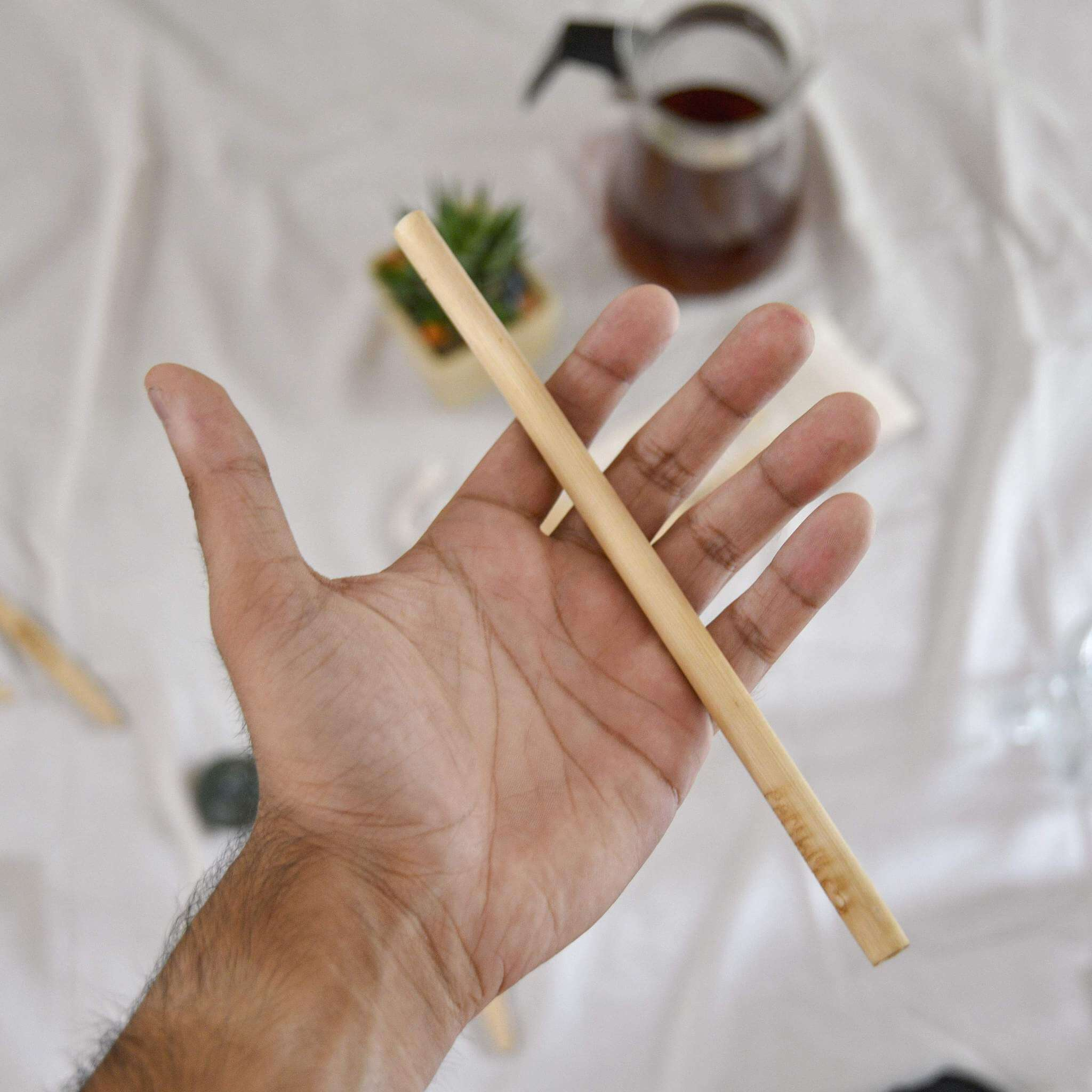 Bamboo straws with cleaner