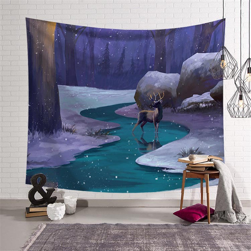 snowy stag tapestry
