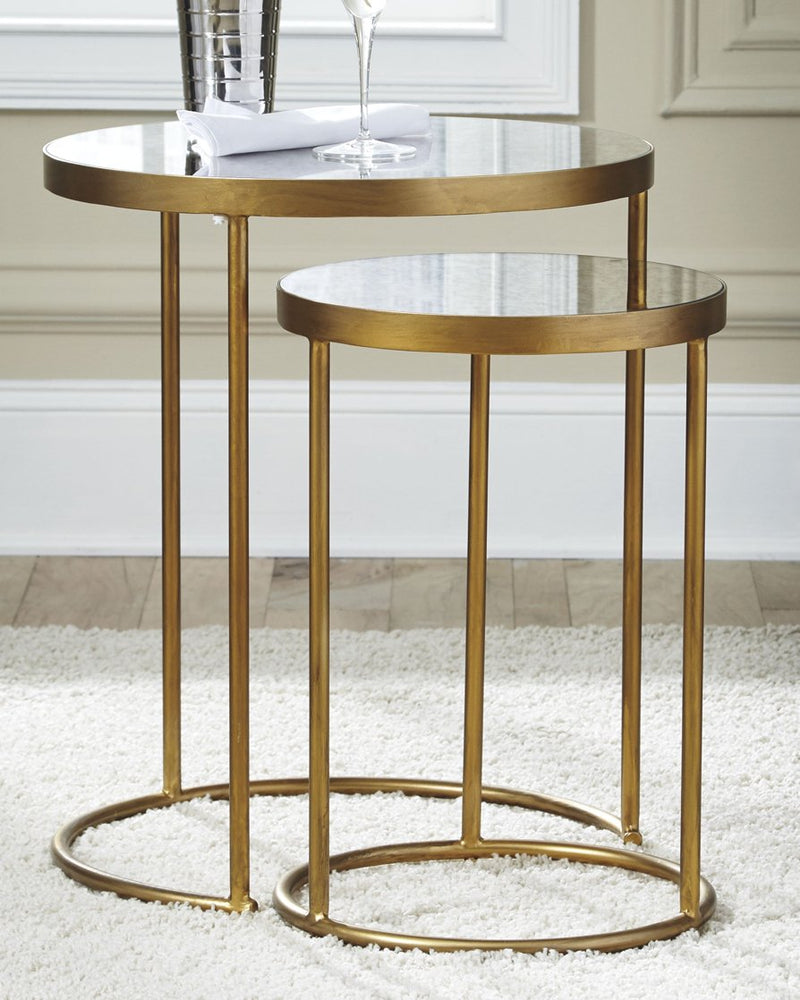 Majaci Signature Design by Ashley Gold FinishWhite Accent Table Set of 2