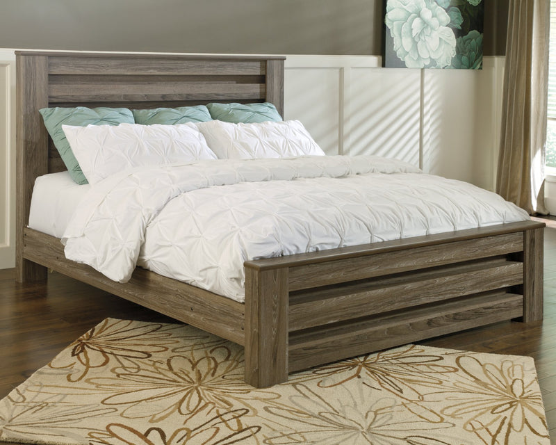 Zelen Signature Design by Ashley Warm Gray King Panel Bed