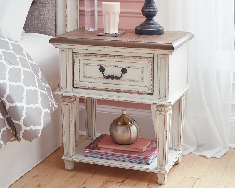 Realyn Signature Design by Ashley Chipped White Nightstand