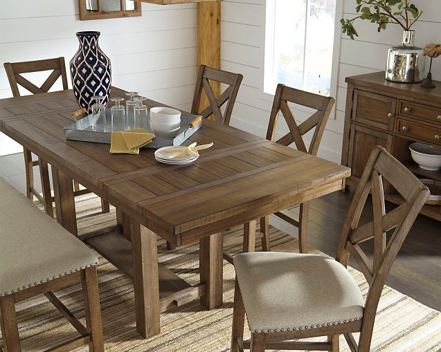 Moriville Signature Design by Ashley Grayish Brown Counter Height Dining Extension Table