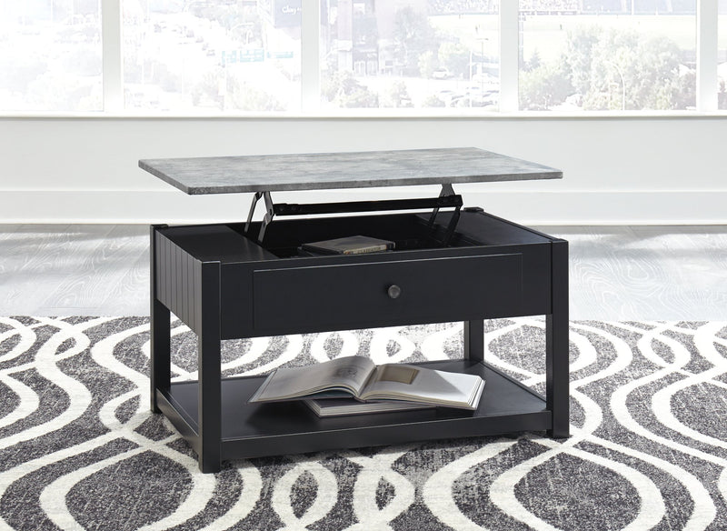 Ezmonei Signature Design by Ashley BlackGray Coffee Table with Lift Top