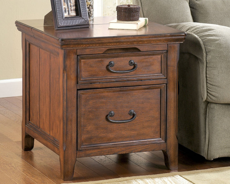 Woodboro Signature Design by Ashley Dark Brown Media End Table with Power Outlets