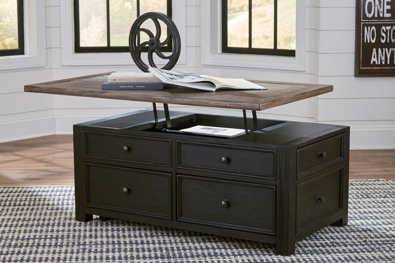 Tyler Creek Signature Design by Ashley Grayish BrownBlack Coffee Table with Lift Top