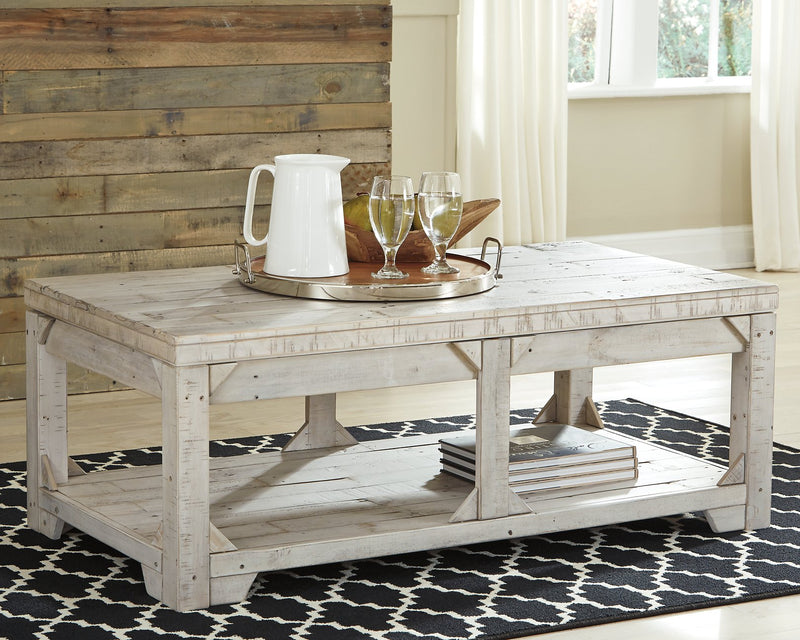 Fregine Signature Design by Ashley Whitewash Coffee Table with Lift Top