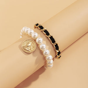 New Trendy Korean Fashion Retro Embossed Portrait Imitation Pearl Alloy Bracelet
