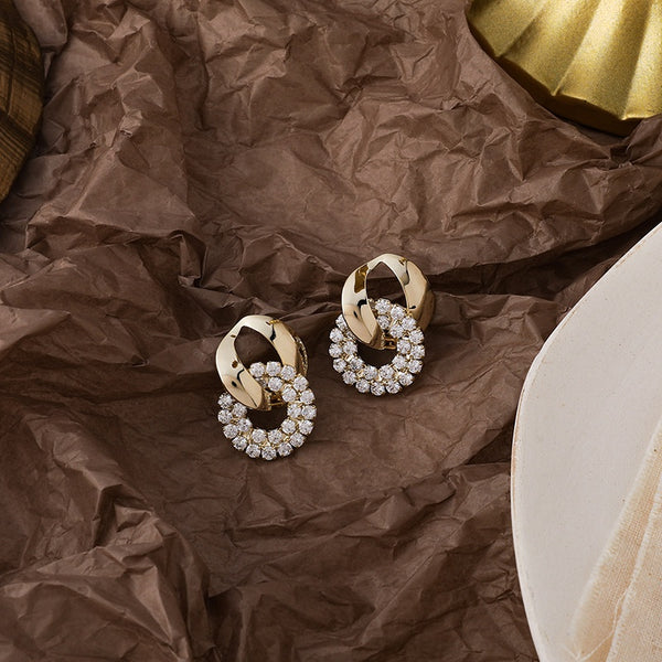 Korean Style Gold Chain Retro Geometric Style Fashion Earrings