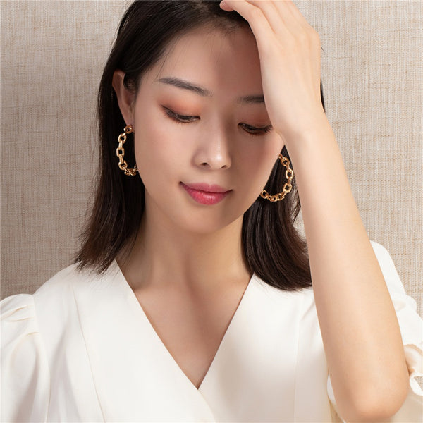 Korean Style Gold simple chain Fashion Large Hoop Earrings