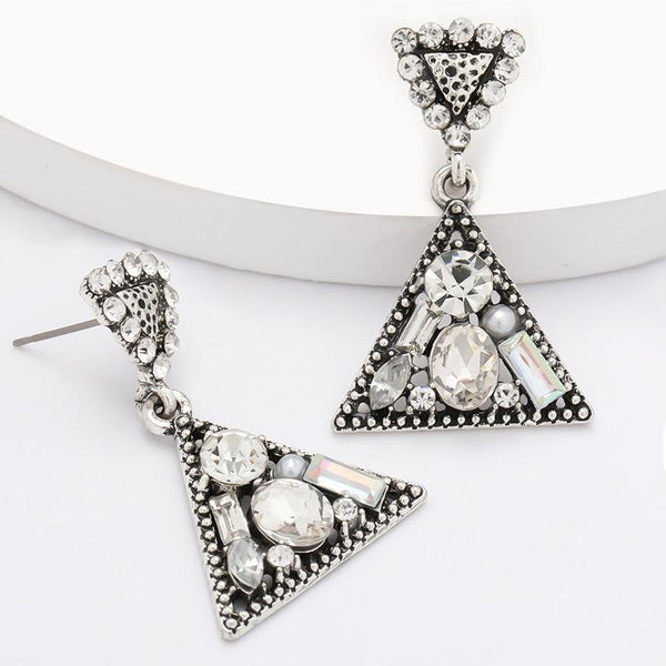 Simple Multilayer Triangle Alloy Diamond Acrylic Geometric Earrings For Women