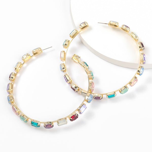 Korean Style Gold Diamond Colorful Small Circle Earrings