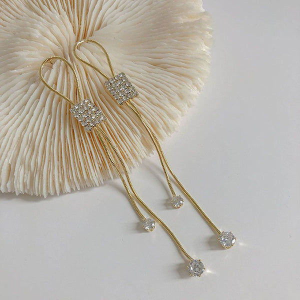 Korean Style Silver Needle Geometric Design New Wave Korean Long Tassel Earrings