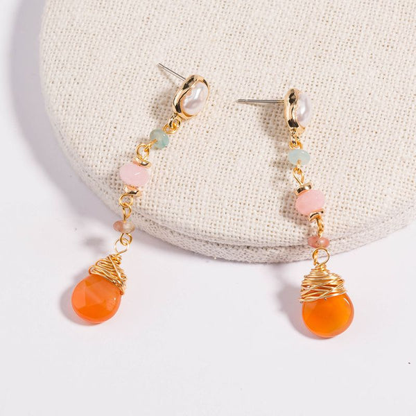 Retro Simple korean style Pure White Pearl Earrings Long Tassel Orange Natural Stones earring For Women