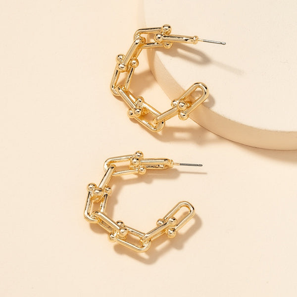 Korean Style Metal C-shaped Earrings