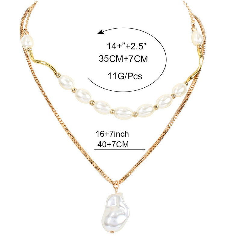 New Trendy Korean Fashion Irregular Shaped Pearl Pendant Golden Double Layer Necklace