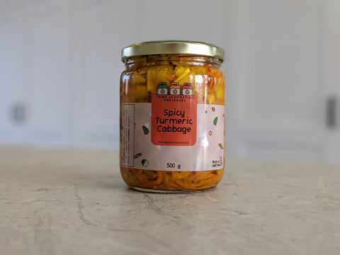 jar of spicy turmeric cabbage