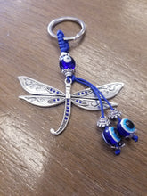 Load image into Gallery viewer, Dragonfly Protection Evil Eye Keychain