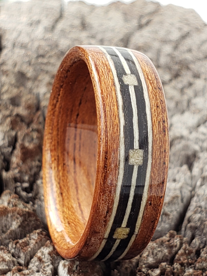 Wood ring with morse code inlay banding